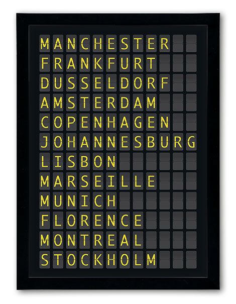 Fab new departure board design. Our twist is that you can personalise your own destinations and see them created as you type http://www.chatterboxwalls.co.uk/personalised-prints/destination-prints