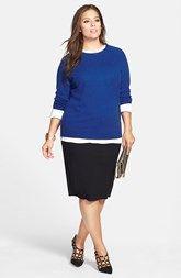 Halogen® Cashmere Sweater & Vince Camuto Midi Tube Skirt (Plus Size)