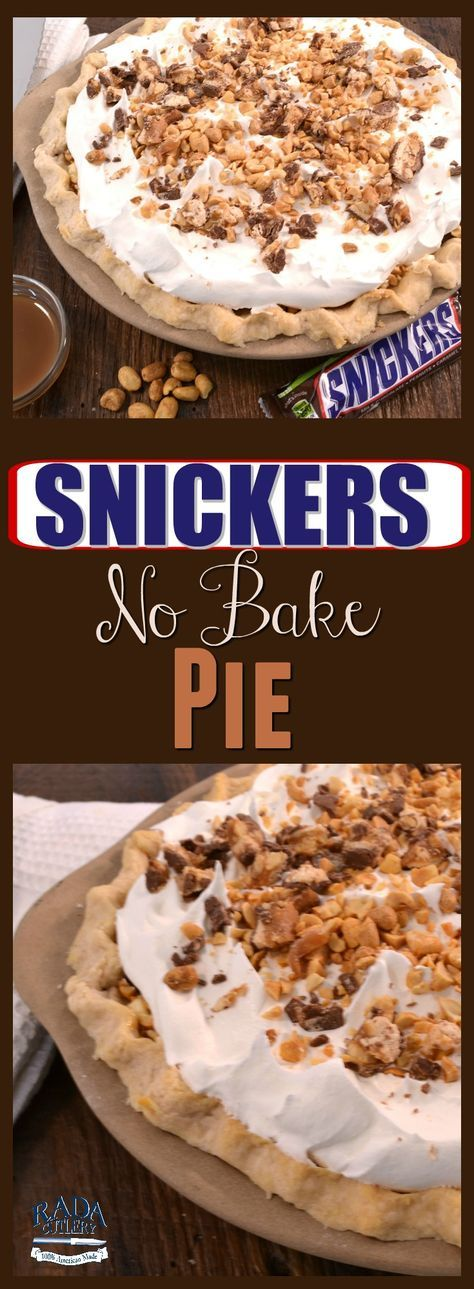 Snickers Pie! Just in time for National Pie Day this delectable dish features Snickers, cream cheese, nuts, and whipped topping with a tasty pie crust. Just be sure to make a spare, because slices of this will fly out of the pan! #pie #recipe #Snickers #candybar #dessert
