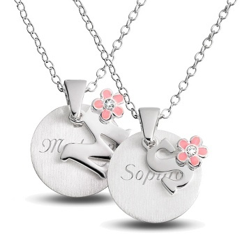 Girl's Initial Necklaces with Flower Accent at Things Remembered