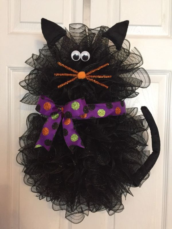 "22"" x 17"" Handmade Halloween Deco Mesh Black Cat Wreath With Bow"