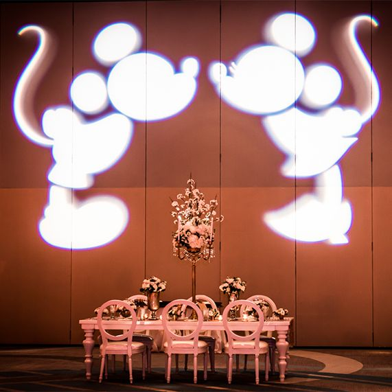 Glamorous metallic wedding reception at Disney's Contemporary Resort Ballroom