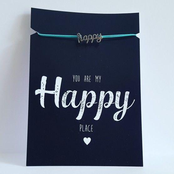 Kaart met armbandje Happyarmbandjeturquoisekaart 10,5 * 14,8 cmYou are my Happy place