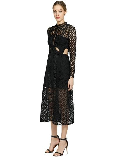 acc997da7d3b SELF-PORTRAIT - PAYNE CUTOUT FLORAL LACE MIDI DRESS - BLACK | Dress ...