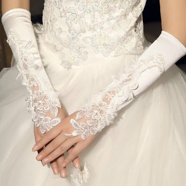 Korean White Wedding Bead Elbow Long Fingerless Prom Evening Bridal Wedding Gloves FREE SHIPPING wholesales $6.49
