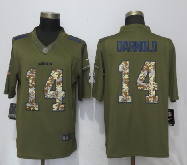 huge selection of 4d30c 5d504 Men New York Jets 14 Darnold Green Salute To Service Nike ...