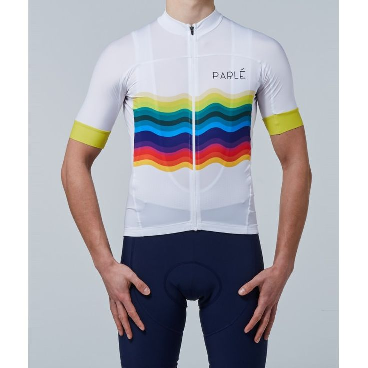 https://parle.cc/en/jerseys/22-rainbow-jersey.html Parlé Cycling. Rainbow Jersey.The fully-fashioned cut was created to provide a sense of lightness and comfort. Soft, elastic material doesn't scrape or irritate. The rear panel made of UV-filter material is perfect for scorching, sunny days. It effectively siphons the heat off, providing optimal comfort. An additional feature is a zippered pocket matched to the whole, intended for storing a phone.