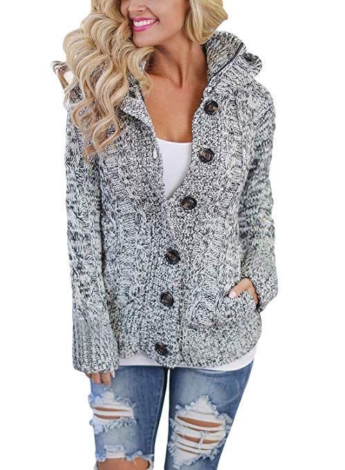a720d666ee Astylish Women s Winter Long Sleeve Button Down  Chunky  Cardigan  Sweaters   Fleece  Jacket  Coat Grey Medium
