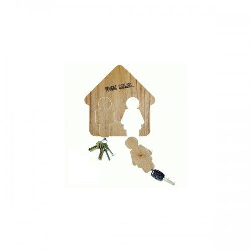 Porta llaves llavero Pareja Porta llave llavero de madera. Medidas: 14cm x 9 cm. Materia prima reciclada. Organizate con más onda.