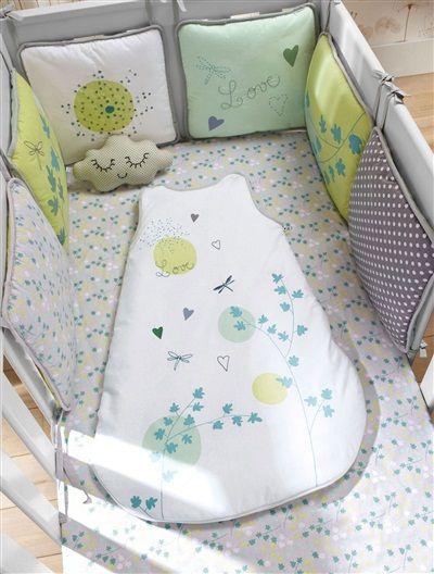 Protector de cuna modulable 'Libélulas' bebé niño y niña GRIS CLARO BICOLOR/MULTICOLOR