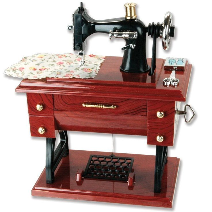 Vintage Mini Sewing Machine Style Plastic Music Box Table Desk Decoration Toy Gift for Kid Children. Features in the shape of a vintage treadle sewing machine. With a piece of fabric under presser foot, EZ Pattern on one corner, and a pair of scissors on the other. No battery need, just twist the switch by hand, and open the mini drawer, amazing!. As music plays, treadle (teeter-totter) moves up and down and spool mouse sitting on top of it goes round and round (thread not included)…