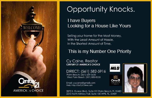 New Real Estate Campaign to Expired Palm Beach Real Estate - Postcard Front.