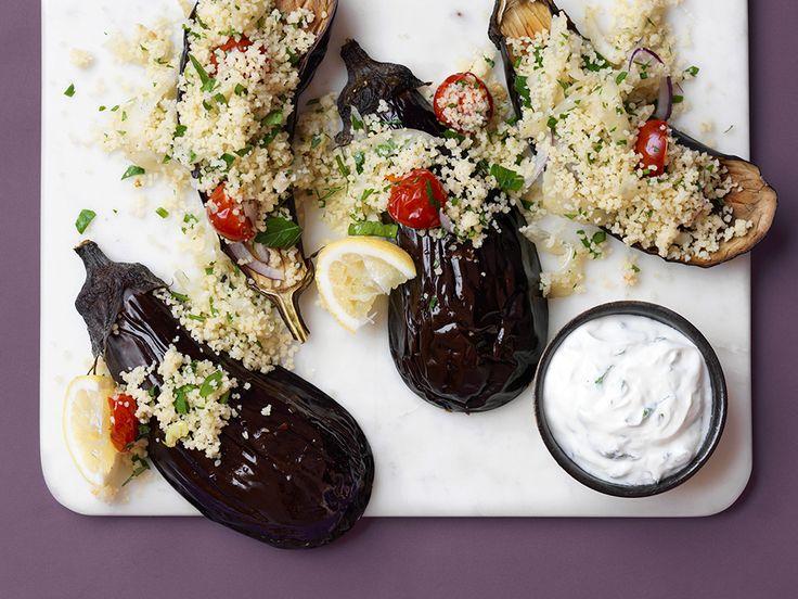 Gevulde aubergine met couscous  http://www.ztrdg.nl/editie/recept/gevulde-aubergine/
