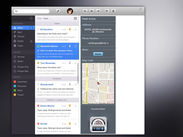Parkbud shares via Email your location to friends - very handy!  iPhone, design, UI, app, mobile, apple, UX, ios, inspiration, http://www.parkbud.com