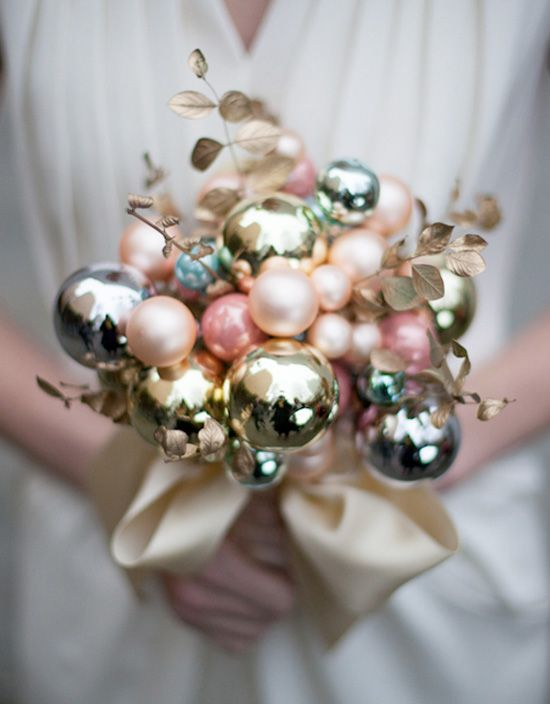 DIY Holiday Ornament Wedding Bouquet - Brenda's Wedding Blog - unique wedding blogs for stylish weddings and inspiring visuals