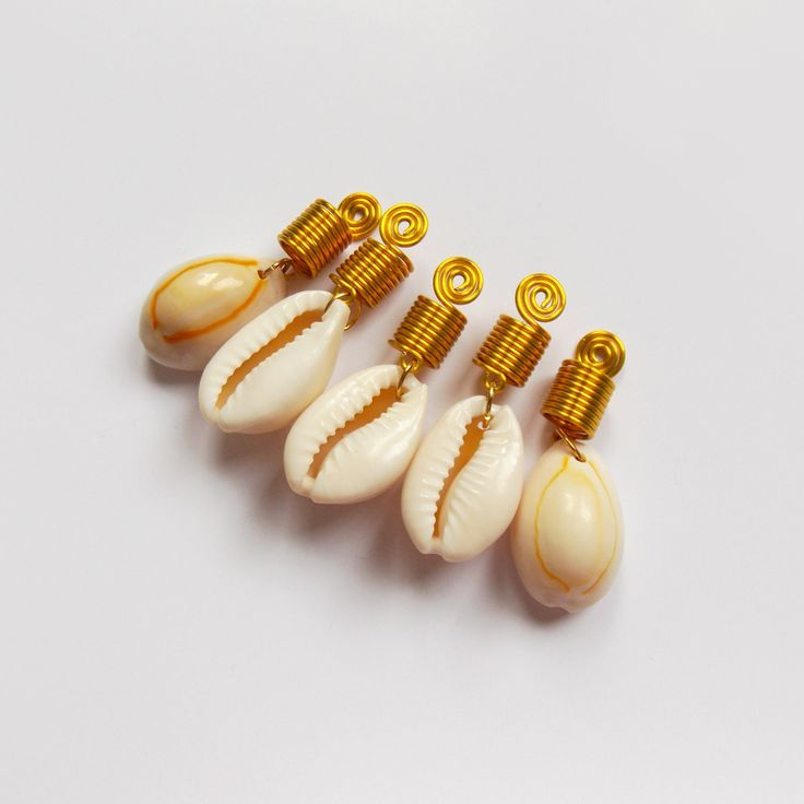 Cowry Shell Loc Jewelry, Dread Cuff Coils, Dreadlocks Beads, Jewelry for Braids, Gold Hair Jewelry Summer Boho Hair Accessories Braid Styles by IvoStyleLine on Etsy