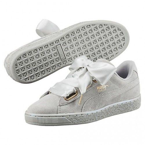 Boutique Femme Puma Suede Heart Satin Sneakers Gris Violet 362714-02 Soldes