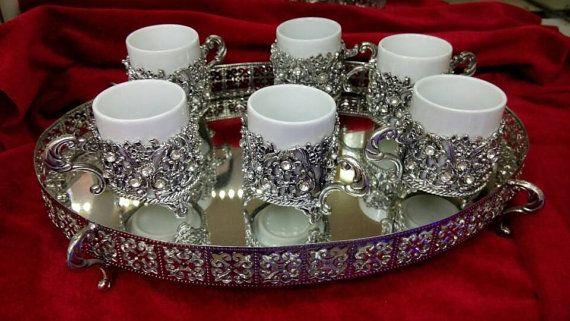Coffee set mug silver Coffee service Coffee cup Tea Cups