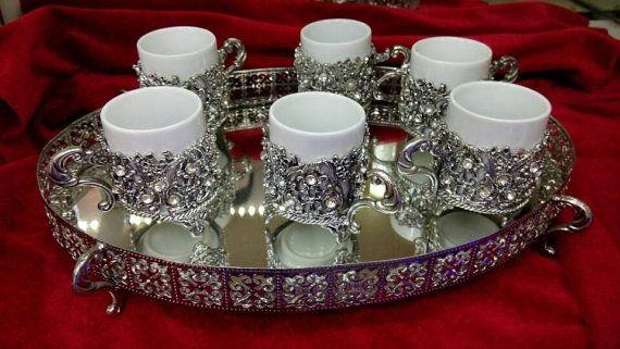 Coffee set mug silver Coffee service Coffee cup Tea Cups