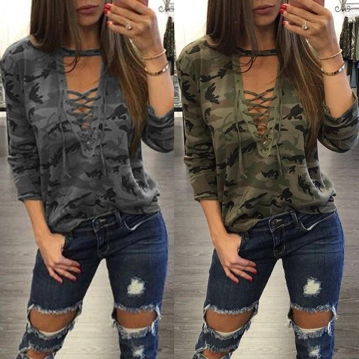 New Fashion Women Camouflage Long Sleeve Casual Blouse Loose Cotton Tops T Shirt #Unbranded #Blouse