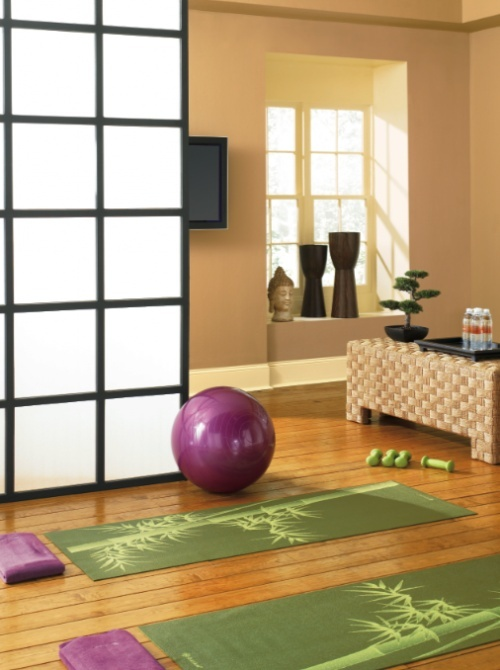 Yoga Room Exercise Room Light Pale Almost Yellow Wall Light Wood
