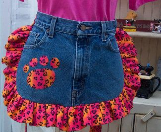 Pink Paws apron made from an old pair of jeans!
