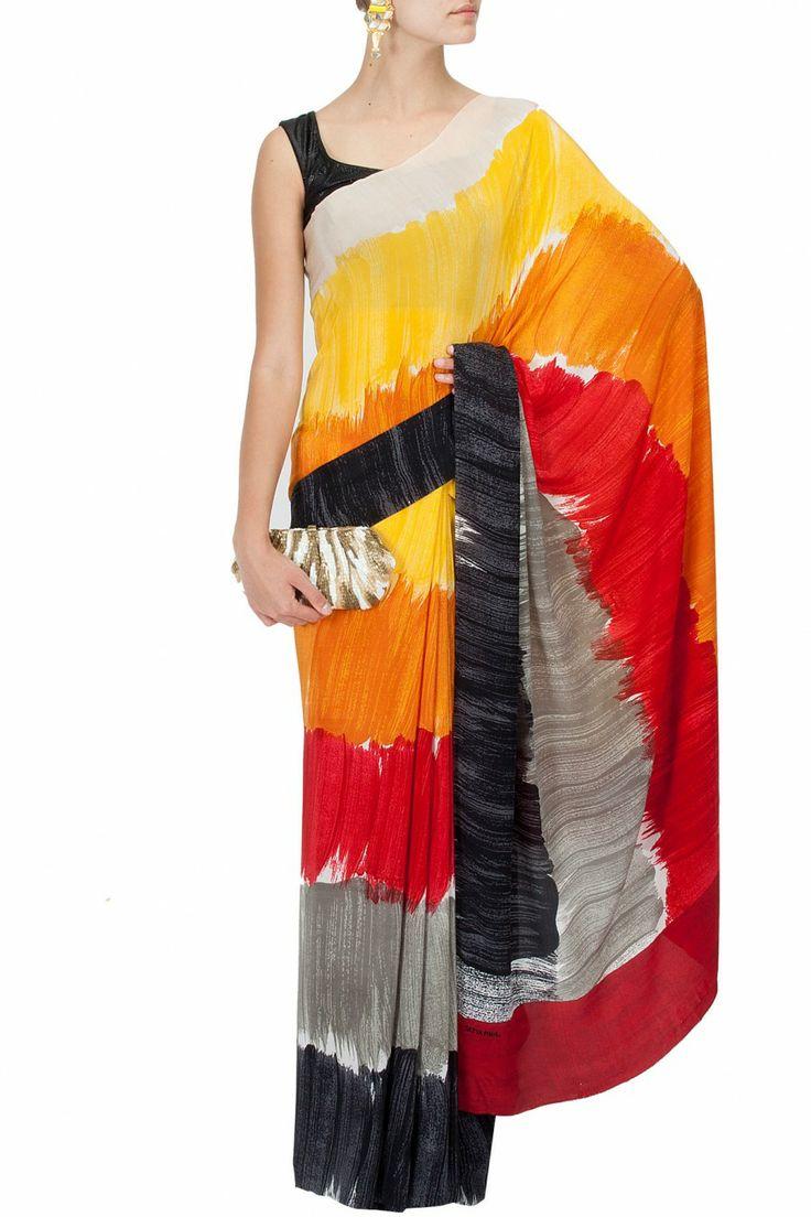Multicolour stripes print sari BY SATYA PAUL