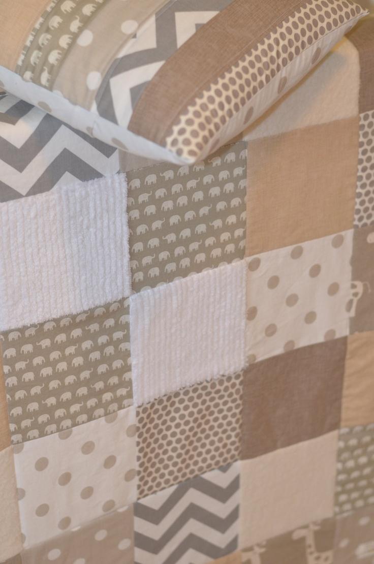 Neutral patchwork baby quilt