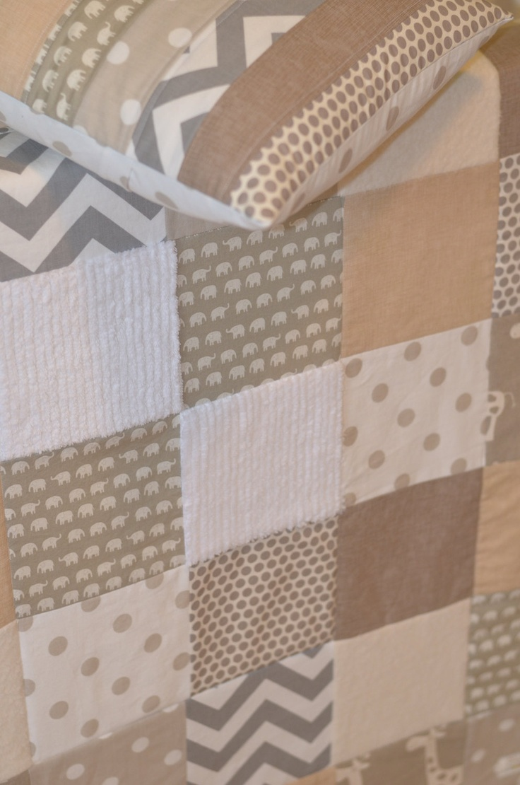 Neutral patchwork baby quilt- too cute! I find most quilts so ugly, but this is wonderful!!
