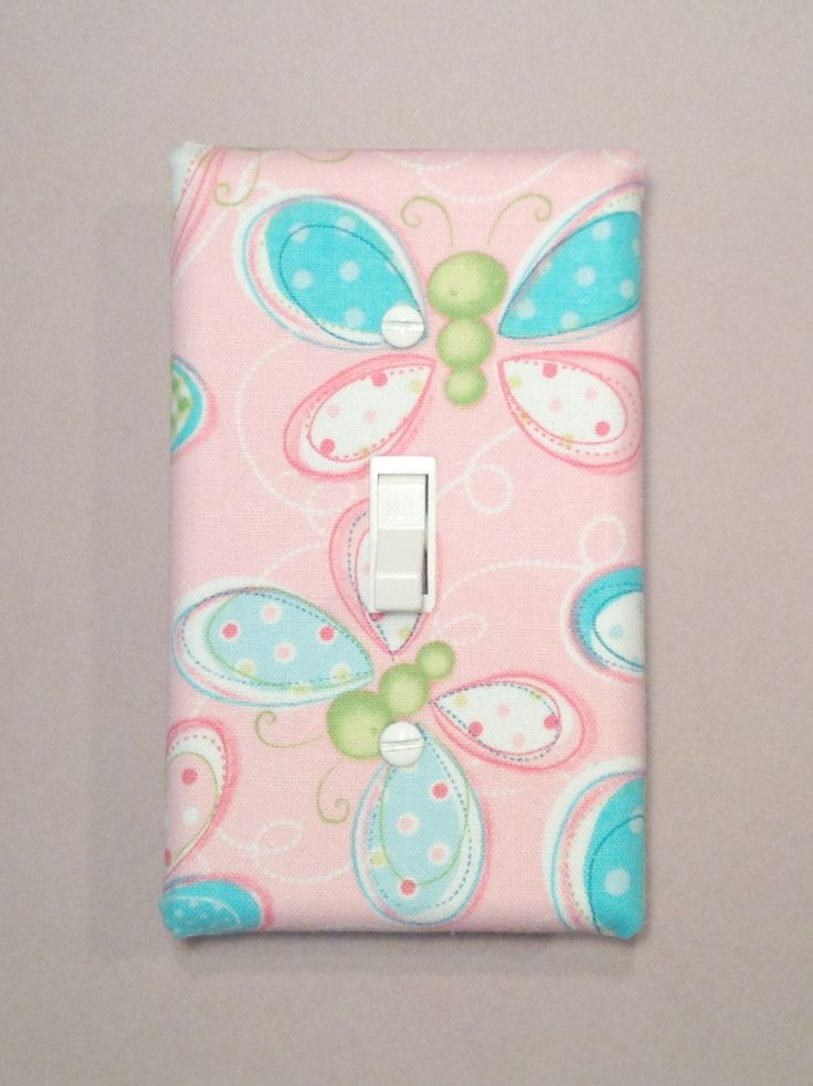 Butterfly Garden Switchplate - Switch Plate - Light Switch Cover - Pink Blue - Baby Nursery Decor - Baby Girl - Baby Room - Outlet Cover by LittleByrdieShop on Etsy