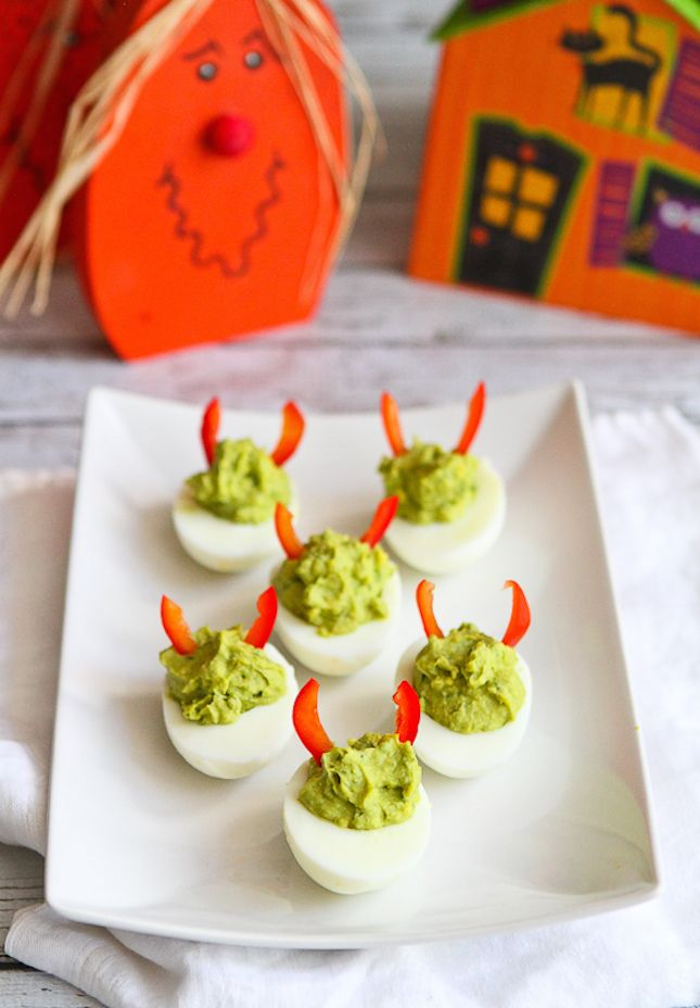 Use guacamole + bell peppers to whip up Devilish Eggs.