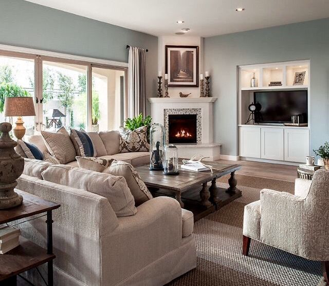 Pulte Living Room Layout With Corner Fireplace And Tv