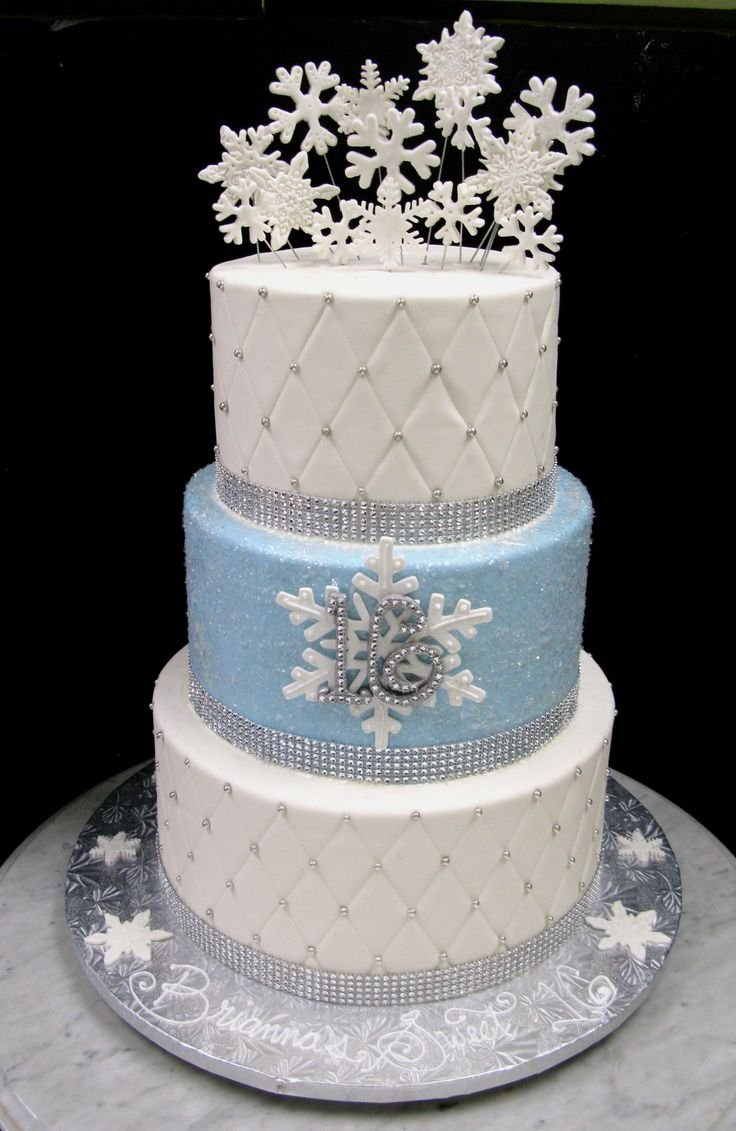 winter wonderland themed wedding cakes winter snowflake sweet 16 all cakes 27570