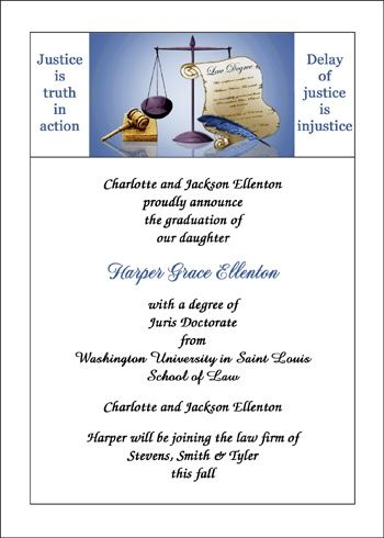 find the most inexpensive justice is truth law school graduation invitations and scales of justice new lawyer graduation announcements for new lawyers commencement ceremony at CardsShoppe, priced as low as $ .79 cents