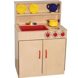 Wood Designs 3-N-1 Play Kitchen Set - Each play kitchen set is a combination of a two-burner play stove top, play sink, and play hutch constructed of 100 percent Healthy Kids Plywood with an exclusive Tuff-Gloss UV finish. These wooden kitchen playsets feature Pinch-Me-Not hinges and doors for added safety and working nobs and faucets for a life-like educational experience.  [WD10600]