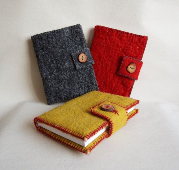 A5 Red Felted Notebook Felt Cover Journal by FeltBuddiesAndCo