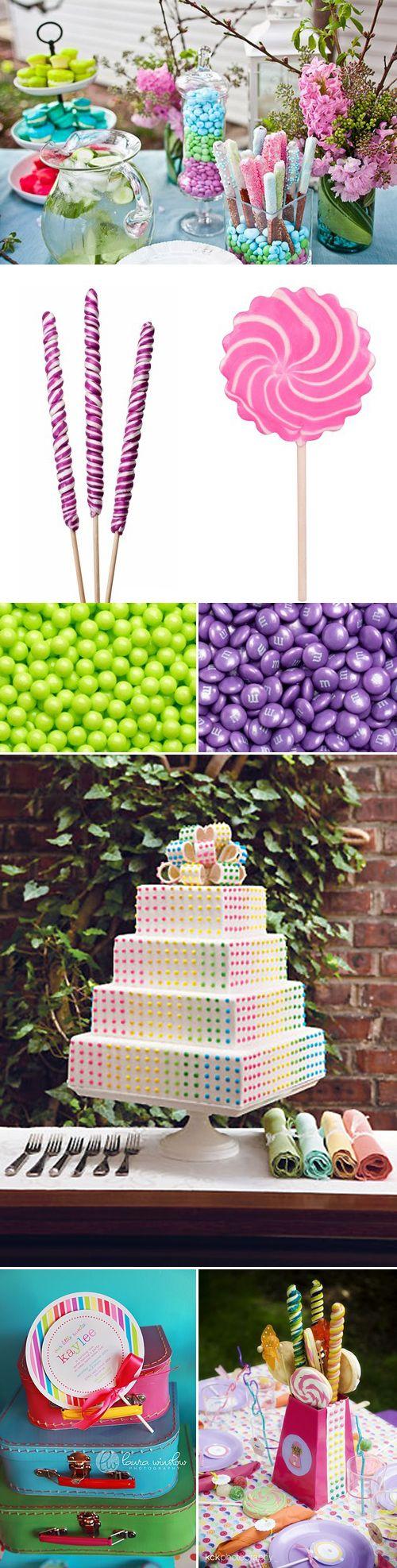 Toda criança gosta de doces, isso não é novidade. Então que tal fazer uma festa temática de doces?! Não precisa ser tuuudo realmente feito de balas e chicletes, o legal mesmo são os enfeites e pratos adaptados para parecerem doces...