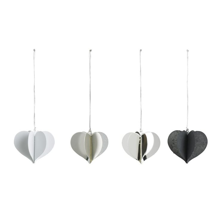 Miniature hearts in 4 colours, pack of four