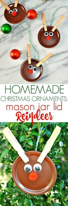 These Homemade Christmas Ornament Reindeer are an easy Christmas craft for kids and they're perfect homemade gifts for the holidays!
