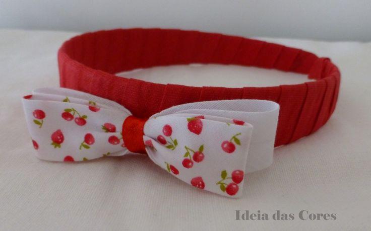 Cherry headband/ bandolete com aplicação de laço com cerejas