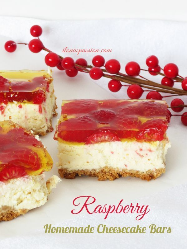 The Best Raspberry Homemade Cheesecake Bars by http://ilonaspassion.com