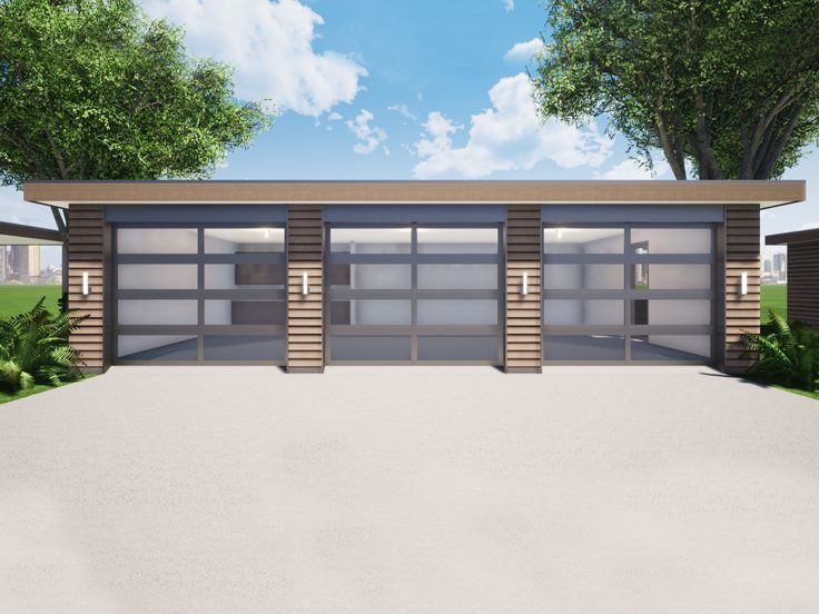 052g 0028 Detached Modern Garage Plan With 3 Bays 38 X24 In