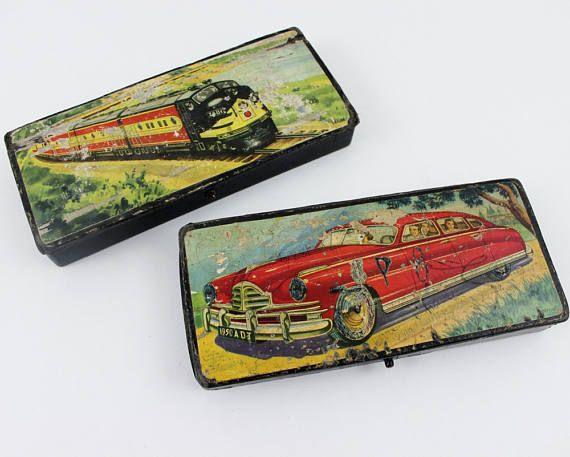 Cute Pencil Case, Pencil Holder for Desk Decor, Paper mache Box, Pencil box, Pencil Organizer, Train Decor Pen Case, Vintage School 1950s