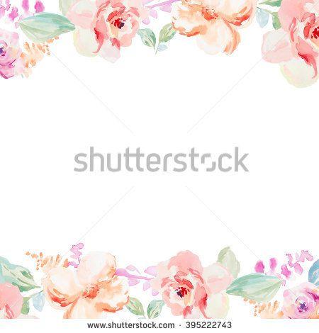 Spring Watercolor Flower Wreath. Watercolor Flower Border. Painted Watercolor Flowers. Cute Flowers