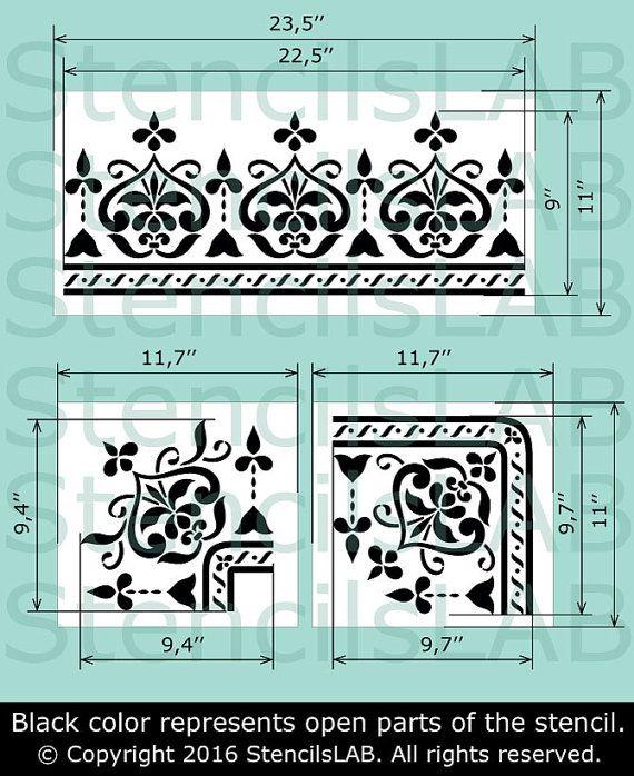 Grenze einzigartige Schablone für Möbel Dekor von StencilsLabNY