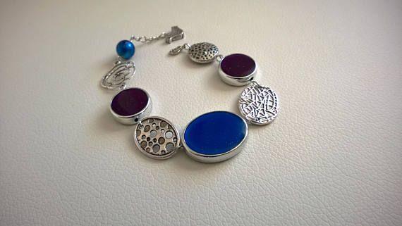ASYMMETRICAL BRACELET Modern bracelet Blue bracelet Purple