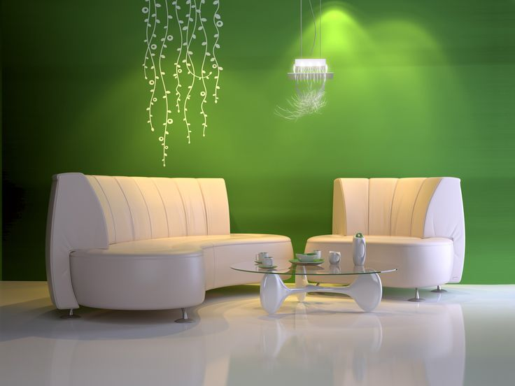 Exotic Green Living Room Decor With Elegant White Leather Sofa Beds You