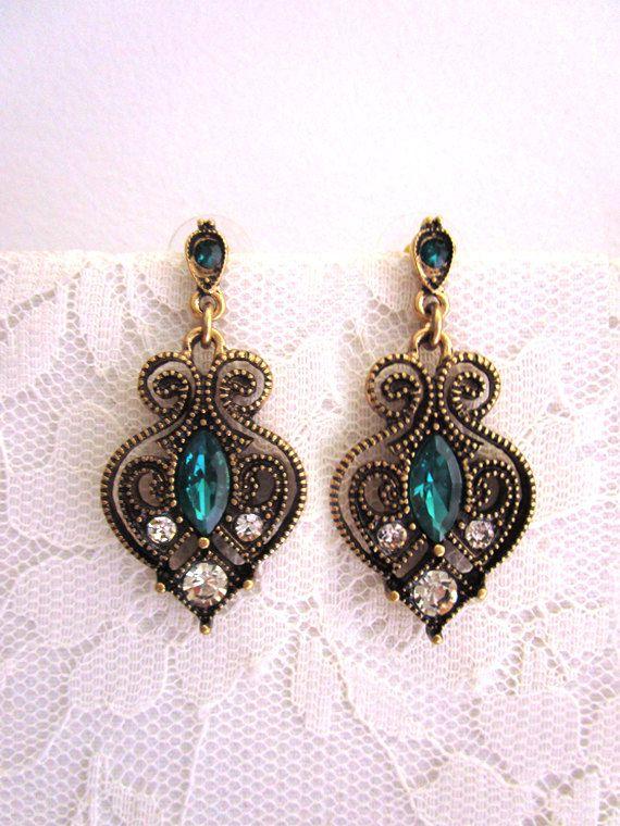 Art Nouveau grün Emerald Kristall Ohrringe Zirkonia von FoldedRoses