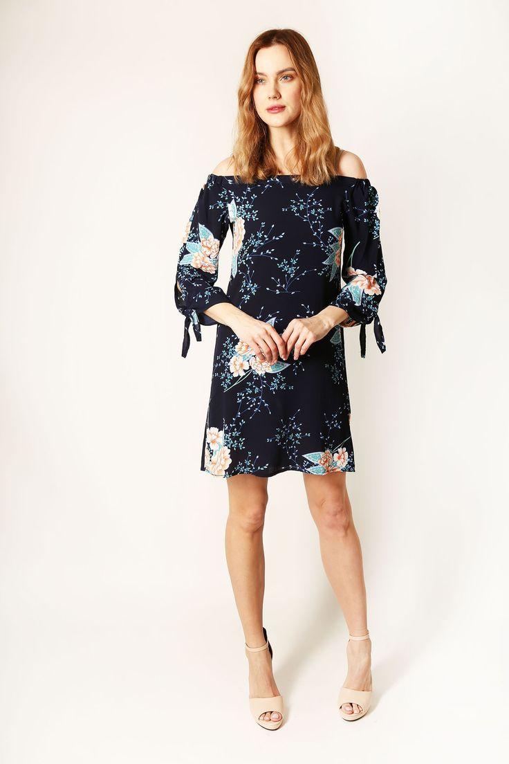 Navy Bardot Floral Dress