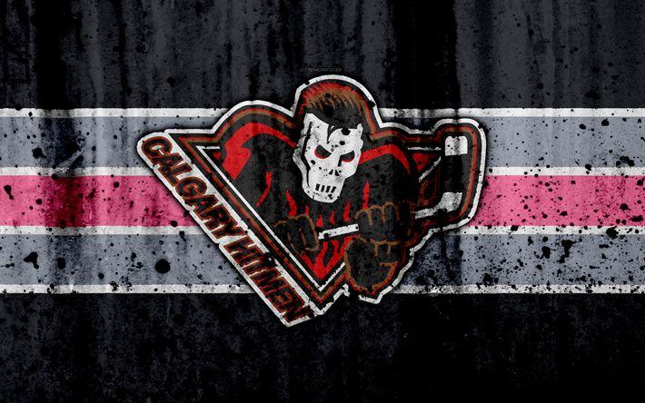 Download wallpapers Calgary Hitmen, 4k, grunge, WHL, hockey, art, Canada, logo, stone texture, Western Hockey League